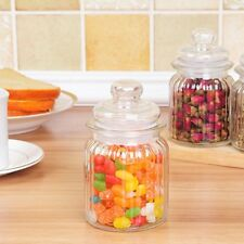 12 CM RIBBED GLASS SWEET JAR AND LID RETRO VINTAGE SWEETIE CANDY CONTAINER