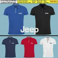 JEEP Slim Fit Polo T Shirt EMBROIDERED Auto Car Logo Tee Mens Clothing Gift Him