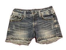 MISS ME Bling bling Denim Jean Short Shorts dark wash fringe embroidered sz 27