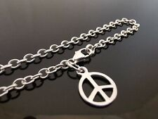 "3mm Genuine 925 Sterling Silver Anklet Ankle Chain Peace Symbol Charm 10"" (25cm)"