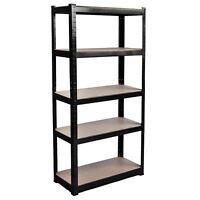 5 Tier Shelf Black Warehouse DIY Garage Storage Rack Shelving Holder