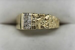 Vintage Estate 10K PLUMB Yellow Gold Nugget-Style 3-Diamond Accent Ring Sz 13
