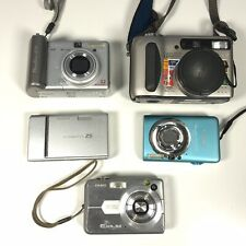 5x Lot Untested Point & Shoot Digital Cameras - Canon / Sony / Fuji Parts/Repair