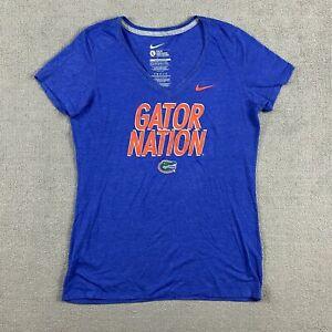 Nike Women's Short Sleeve T-Shirt Large V-Neck Gator Nation Blue Slim Fit L