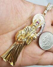 "GOLD Santa Muerte 14k death reaper Pendant simulated diamond Big 25.4g 3.55"""