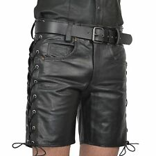 Aw-546 pelle confezionato PANTALONCINI, JEANS Pantaloncini in pelle, Lederhose, Pantaloni corti gay N cuir