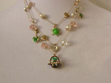 Betsey Johnson Gold Tone 3-Row Frog in Garden Basket Necklace