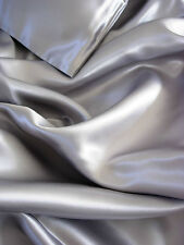 4 pc 100% Mulberry silk charmeuse sheet set Full size silver grey Gray