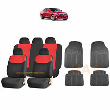 13PC RED ELEGANT AIRBAG SEAT COVERS & BL RUBBER MATS FOR CARS 3865