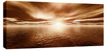 LARGE BROWN TONED SEASCAPE SUNSET CANVAS PICTURE 44x20""