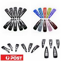 20pc/ Metal Snap Hair Clip 5cm Pin Barrette Colour Plain Fluoro Pastel Hairpin