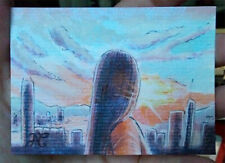 Iridescent Original Sketch Card Woman See City Clouds Light Clouds Hope Mountain