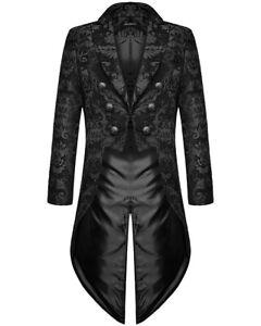 Devil Fashion Mens Gothic Steampunk Tailcoat Jacket Black Brocade Damask Wedding