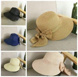 Ladies Bow Straw Wide Brim Hat Floppy Beach Bucket Sun Protection Caps Summer