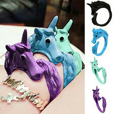 Women Unique Candy Color Unicorn Finger Ring Enamel Horse Party Jewelry Ring  YA