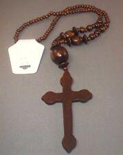Christian Pendant Necklace & Earrings Set LARGE CROSS Beads DARK BROWN FINISH