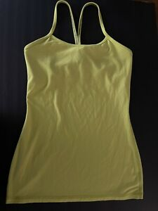 LULULEMON YELLOW LIME POWER Y TANK TOP SIZE 4