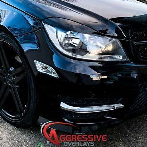 2012 2013 2014 Mercedes Benz C300 C350 C250 C63 Head Light Eyelids GLOSS BLACK