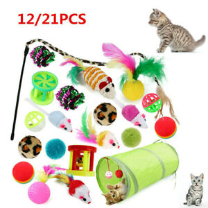 Funny Pet Tunnel Bulk Toy Kitten Stick Mouse Cats Stick Ball Cat Play Toys 21pc