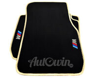 BMW 7 Series F01 Black Floor Mats Beige Rounds With ///M Emblem With Clips NEW