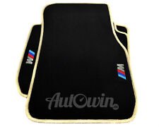 BMW 3 Series E90 Black Floor Mats Beige Rounds With ///M Emblem With Clips NEW