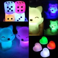 7 Shape Romantic Color Chang Night Light Bedside Lamp LED Bedroom Decor K Dylj