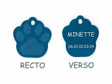 medaille gravee chien ou chat - modele petite patte de chat calinette - bleue