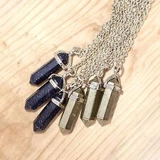 Gold Pyrite Crystal Stone Necklace-Boho Vintage Silver-Healing Aura Quartz Jewel
