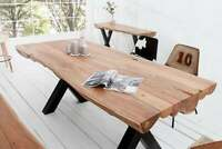 Thor Luxury Solid Sheesham Wood Industrial Dining Table Black Legs (Table Only)