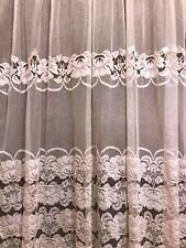 "Embroidered Mesh Lace Curtain Shabby Country Chic Light Pink Vtg. 56"" W X 84"" L"