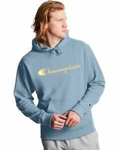 Champion Men's Fleece Hoodie Sweatshirt Powerblend Script Logo Pockets Workout