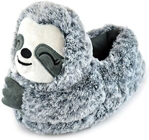 Ladies 3D Plush Novelty Grey Sloth Slippers - Small