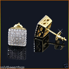 Men's SI1 Diamond Earrings 10K Gold Screw Back Stud Earrings Fully Iced 0.25 ct.