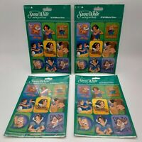 Vintage Cleo Disney Snow White And The Seven Dwarfs Stickers Lot 4 Packs of 36