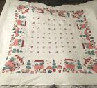 Vintage 1940's/50's STARTEX pink flower stand TABLECLOTH signed Hall Byther