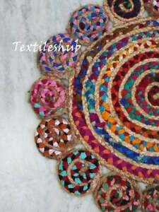 36x36 Indian Colorful Multi Floral Area Rug Home Decor Rag Rug Carpets Jute Rugs