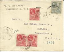 Montserrat SG#50(x3-2 faults)#70 JY/17/1924 Registered to USA, backstamped,