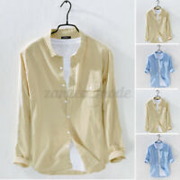 Mens Cotton Linen Long Sleeve Shirt Causal Loose Fit Tee Blouse Shirts T Shirt