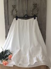 Antique French Victorian Petticoat Skirt ~Handmade Lawn Cotton & Broderie Lace