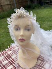 More details for vintage plain silk bridal wedding veil with wax flower headdress tiara