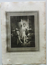 PETER DELIVERED OUT OF PRISON BY AN ANGEL Dadley Gravure BIBLE BROWN 1814