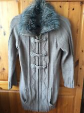 Woman's Brown Cardigan With Faux Fur Collar George 12