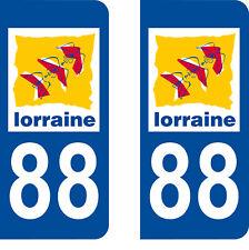 Département 88 sticker 2 autocollants style immatriculation AUTO PLAQUE