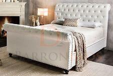 Scroll Bed frame Upholstered Chesterfield chenille fabric plush velvet sleigh