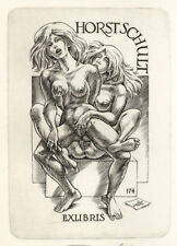Frank Ivo van DAMME Girl on Girl Exlibris Schult Erotic C2 Copper Engraving #174
