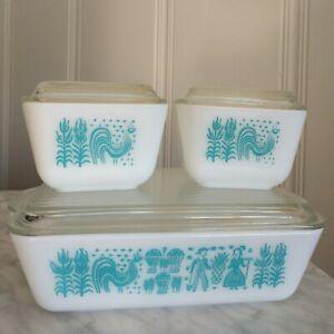 Vtg Lot 3 Pyrex Amish Butterprint Refrigerator Dish & Lid 501 Turquoise Art Set