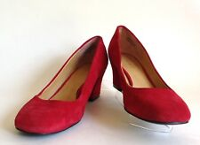 "NINE WEST Red Suede Leather Court Shoe 2"" Block Heel Round Toe,UK 3 EU 36 US 5W"