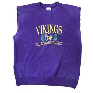 Vintage NFL Minnesota Vikings Logo 7 Faded Purple Crewneck Sweatshirt Sleeveless
