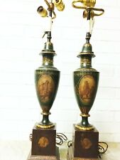 Pair Painted Tole Oil Lamps, 19th Century