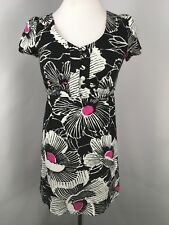 Alice Temperley For Target Juniors Black White Pink Floral A-Line Dress Sz 1